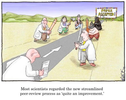 "Image credit: ""Peer review"" by Nick Kim, see http://www.lab-initio.com/"