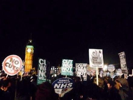 """Hands off our NHS!"" ""Cut War not Welfare!"""