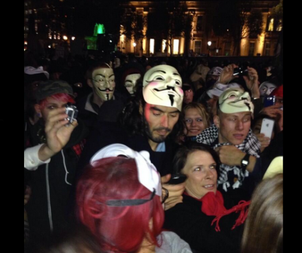 Arch Statist Russell Brand at #MillionMaskMarch